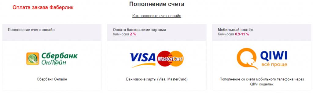 способы оплаты: Сбербанк-Онлайн, VISA, QIWI